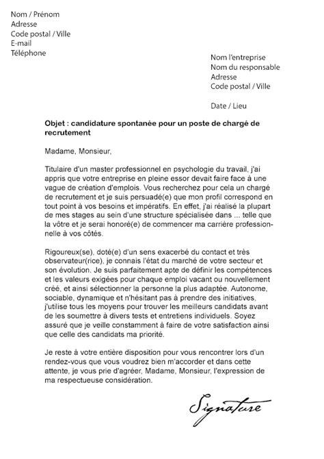 lettre de motivation charg 233 de recrutement mod 232 le de lettre