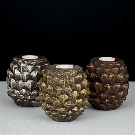 home reflections set of 3 pine cone light holders with led