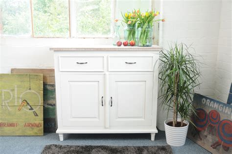 Painted Cottonwood Shabby Chic Double Sideboard
