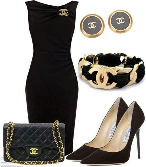 chanel  black dress fashion dress outfits