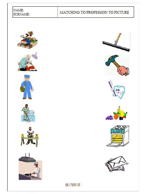 preschool positions worksheets matching the occupations worksheets 948