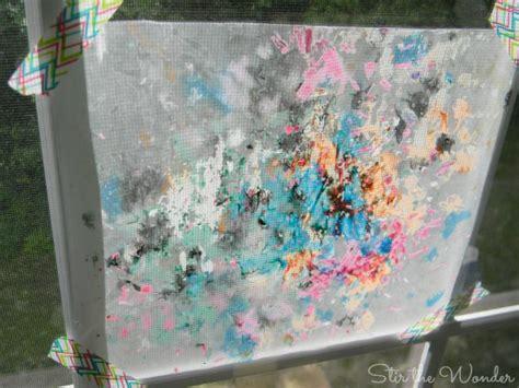 melted crayon shavings process art stir