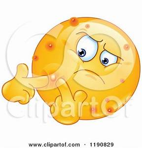Cartoon of an Acne Ridden Emoticon Popping Pimples ...