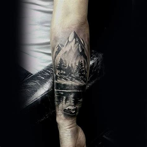 mountains with river and trees guys inner forearm