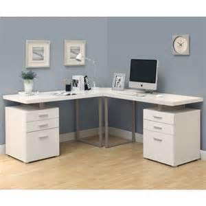 Borgsj Corner Desk White by White 3pc Hollow Core L Shaped Desk Set 2 Desks 1