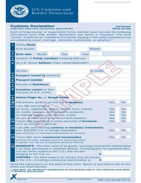 indian customs declaration form form 6059b customs declaration free