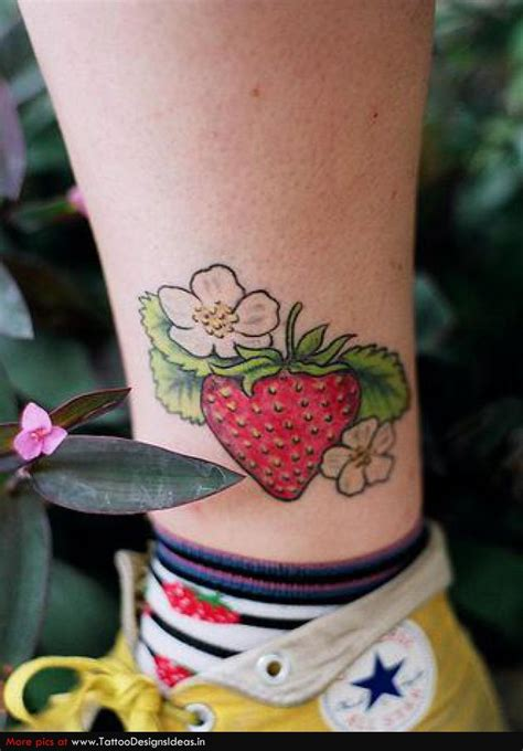 strawberry tattoo images pictures  design ideas