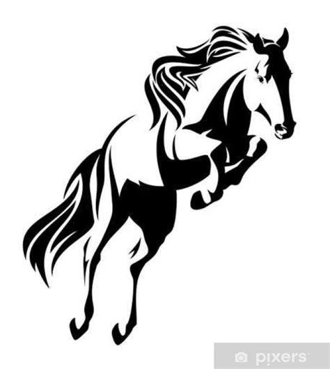 fototapeta skoki konia czarno bialy wektora projektowania