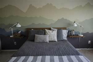 Dessin montagne stylise en couleur pour decorer les murs for Dessin mural chambre adulte
