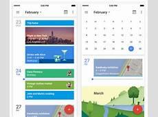 Updated Google Calendar app with Material Design UI, new