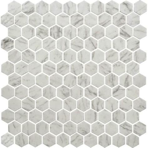 daltile uptown glass mosaics hexagon carrara floor