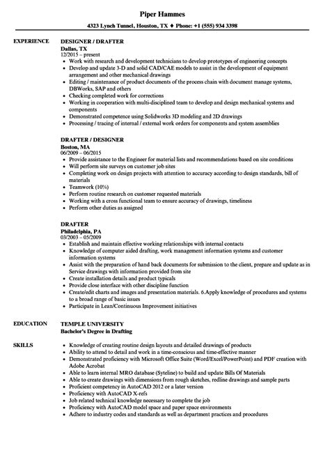 Resume Drafting by Drafter Resume Sles Velvet