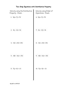 solve two step equations with distributive property by math jewels