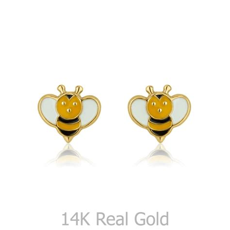 stud earrings   yellow gold busy bee youme offers