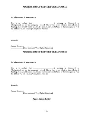 proof of address letter fillable address proof letter for employee fax 53698