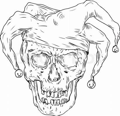 Jester Drawing Renaissance Skull Drawings Court Sketch