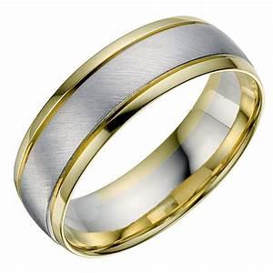 18ct White Yellow Gold Men39s Wedding Ring Ernest Jones
