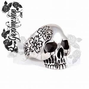 Tete De Mort Fleur : bague acier tete de mort fleurs ~ Mglfilm.com Idées de Décoration