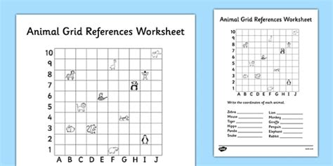 grid reference worksheets year 3 animal grid references worksheet coordinates worksheet