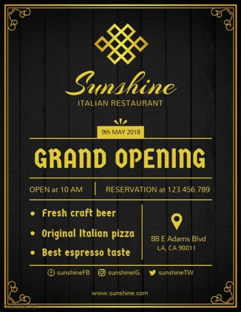 grand opening  restaurant flyer template postermywall