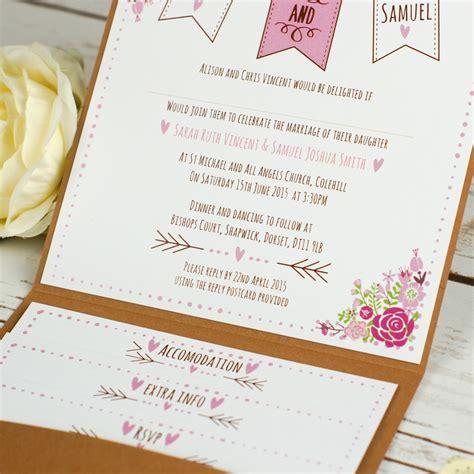 floral rustic pocketfold wedding invitations
