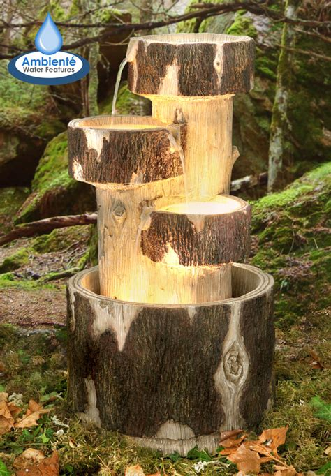3 tier log cascade water feature with lights by ambient 233 163