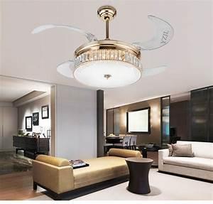 Crystal folding ceiling fan light telescopic modern