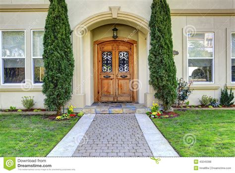 Luxury House Entrance Porch With Walkway Stock Photo