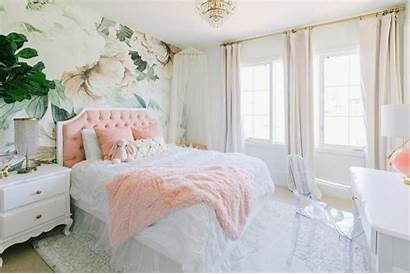Bedroom Floral Wall Pink Mural Interior Features