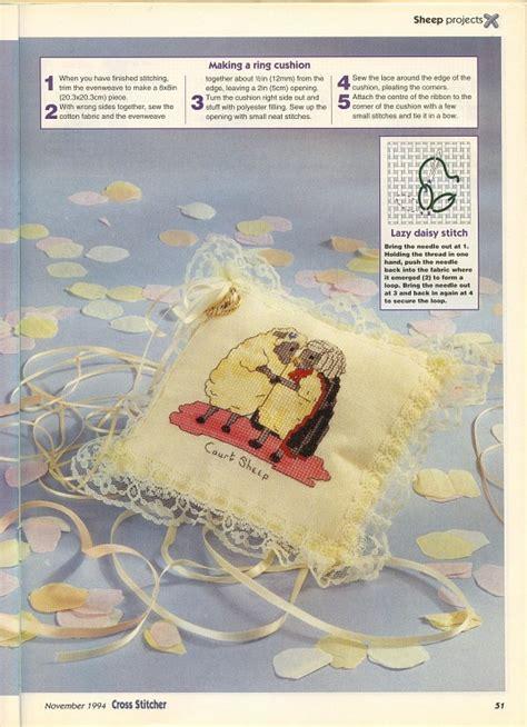 cuscini portafedi punto croce cuscino portafedi punto croce con due tenere pecore 1