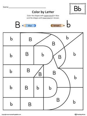 uppercase letter b color by letter worksheet
