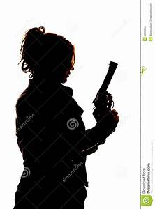 information about girl holding gun silhouette