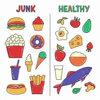 Vs Unhealthy Healthy Junk Popcorn Fruits Vegetables