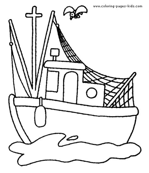 Coloring Pages Of A Fishing Boat by Boat Coloring Page Coloring Pages For Kids