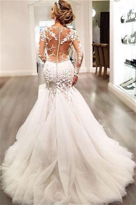 mermaid wedding dresses long sleeves lace beaded