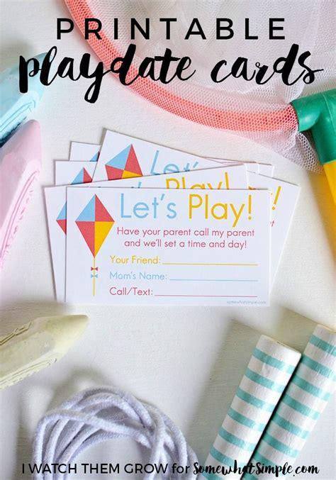 printable playdate invite cards summer break