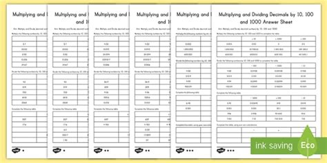 multiplying and dividing decimals by 10 100 and 1000 worksheets