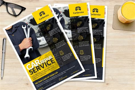 car mechanic  flyer flyer templates creative market