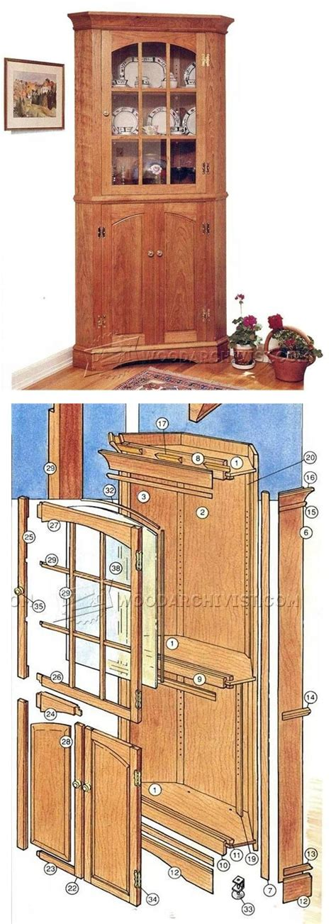 corner cupboard plans furniture plans  projects