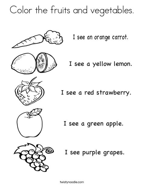 color the fruits and vegetables coloring page twisty noodle