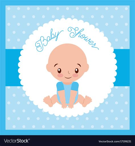Baby Shower Boy by Baby Shower Boy Greeting Card Blue Background Vector Image