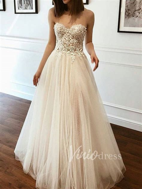 Strapless Champagne Beach Wedding Dresses with Lace Bodice ...