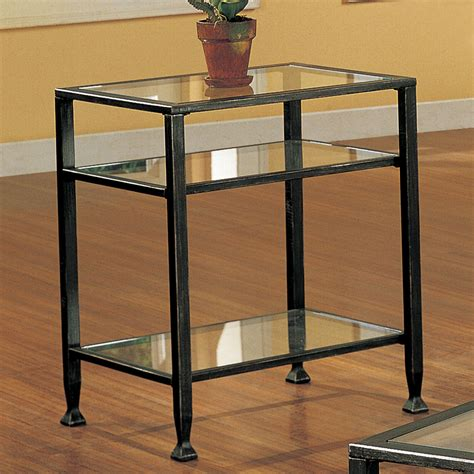 end table amazon com sei bunching metal end table glass side table
