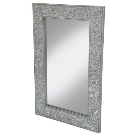 Clara Wall Mirror Large Rectangular In Silver Mosaic Frame