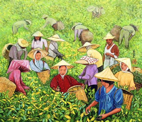 tea picking girl painting by komi chen