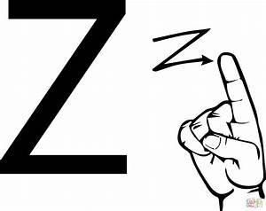 Alphabet coloring pages letter z letter z is for zebra for Letter a sign