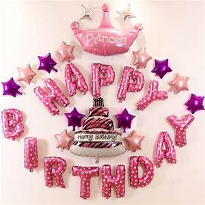 Colorful Foil Balloons Pink Happy Birthday Balloons Letter ...