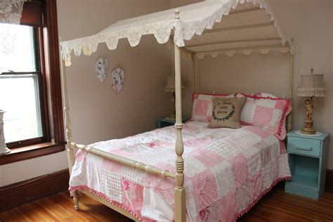 vintage canopy bed vintage canopy full bed frame shabby chic crochet topper