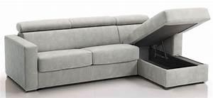 canape d39angle convertible avec tetieres revetement With canapé lit gris clair