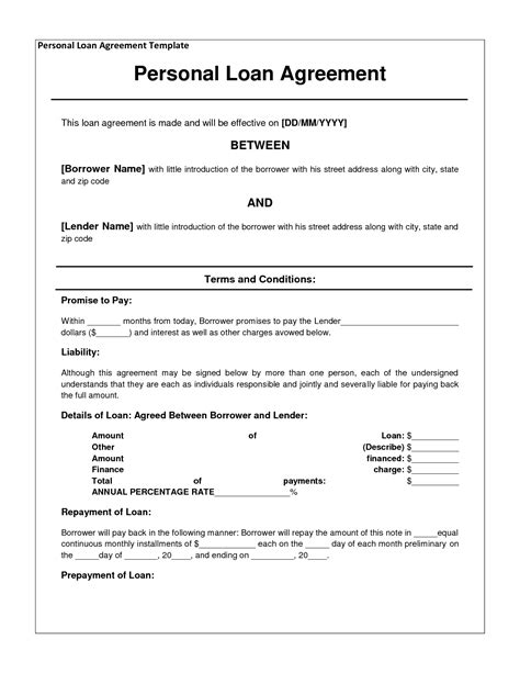 free personal loan agreement form template 1000